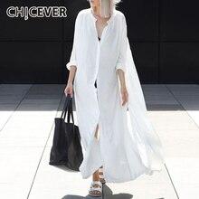 CHICEVER 2020 Autumn Shirt Dress For Women Long Sleeve Loose Back High Split Women's
