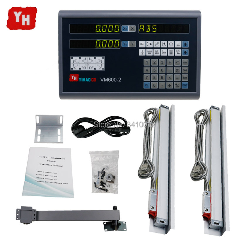 Complete 2 Axis DRO digital readout set + 2 PCS 5u linear optical ruler travel length 200 300 400 500 600 700 800 900 1000mmComplete 2 Axis DRO digital readout set + 2 PCS 5u linear optical ruler travel length 200 300 400 500 600 700 800 900 1000mm