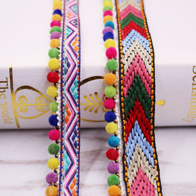 Colored Ethnic Braided Polyester Lace With Pom Pom Ball Decorations DIY Trim Fabric Hometextile Clothes Embellishment 0.9m 1PC