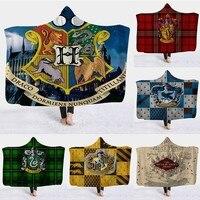 Hooded Blanket Cloak Magic Siesta Wear Harry Potter 3D Printed Pattern Throw Blanket In Cap Warm Wearable Fleece Throw Blankets