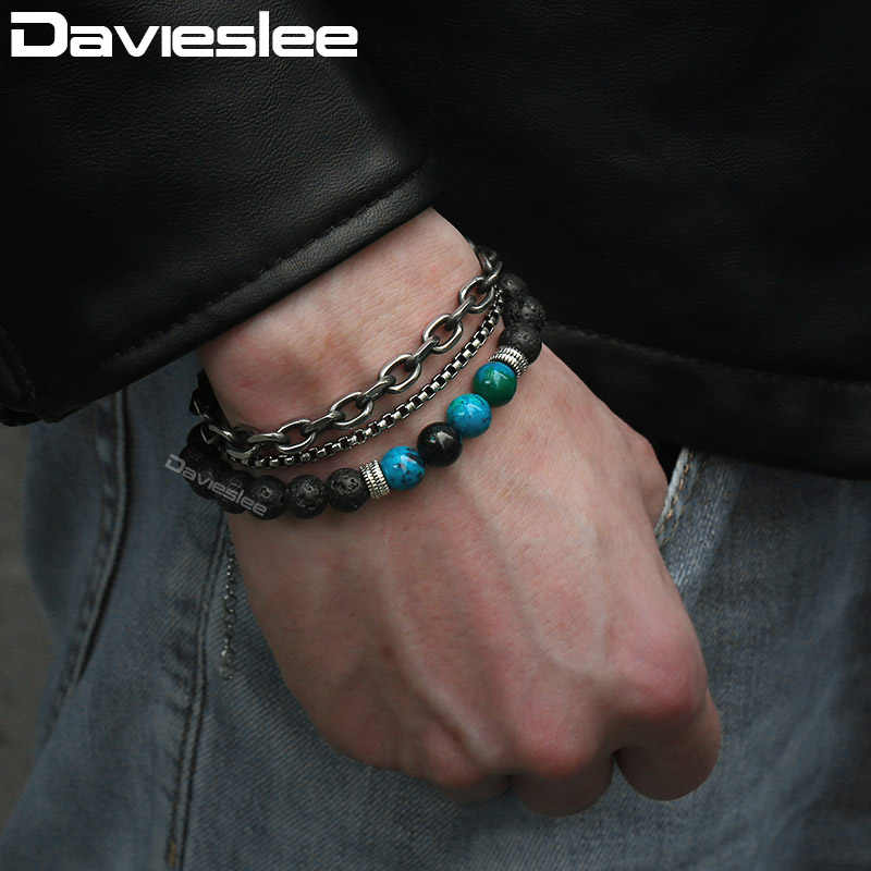 Beaded Bracelets for Men Stainless Steel X Charm Mens Bracelet Adjustable Gunmatel Silver 2 Layer Cable Box Blue Map Stone LBM11