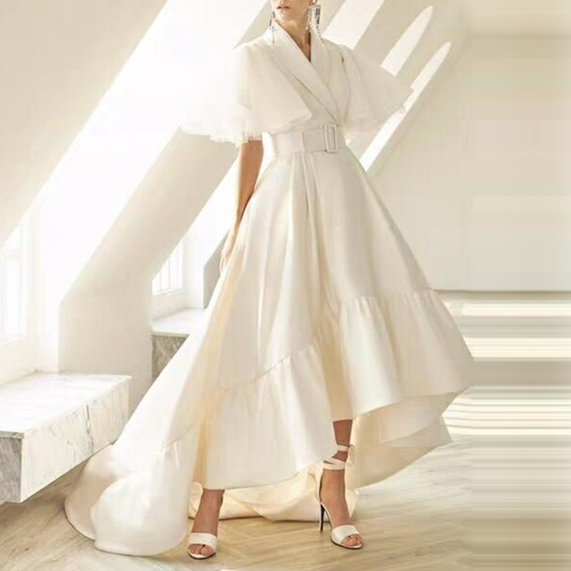 TWOTWINSTYLE sukienki i zabawy kobiet V Neck płaszcz rękaw wysoka talia z Sashes asymetryczna długa sukienka dla kobiet 2019 wiosna w Suknie od Odzież damska na  Grupa 2