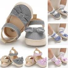 Летние милые сандалии с бантом для маленьких девочек; обувь для кроваток; полосатый крючок; повседневная детская обувь на мягкой подошве; 0-18 месяцев