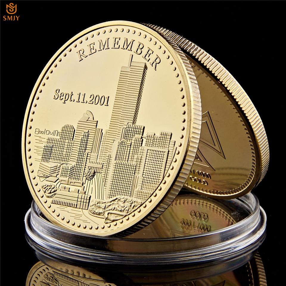 Торговый центр 2001.9.11 века, теракция статуи Свободы США, памятная Золотая монета для воспоминания истории