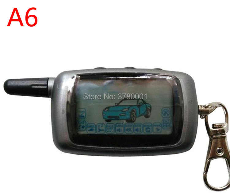 Wholesale Russian Version A6 LCD Remote Controller Key Fob for Starline A6 Keychain Twage Two Way Car Alarm System