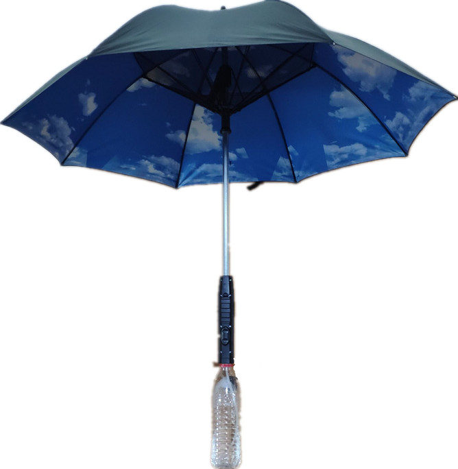 Sunscreen Blue Sky and White Clouds Long handle Umbrella With Fan and Spray