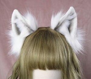 Image 4 - Lolita girl hair accessories  Animal White Wolf Ears hairband for women scrunchie Headwear Hand Work