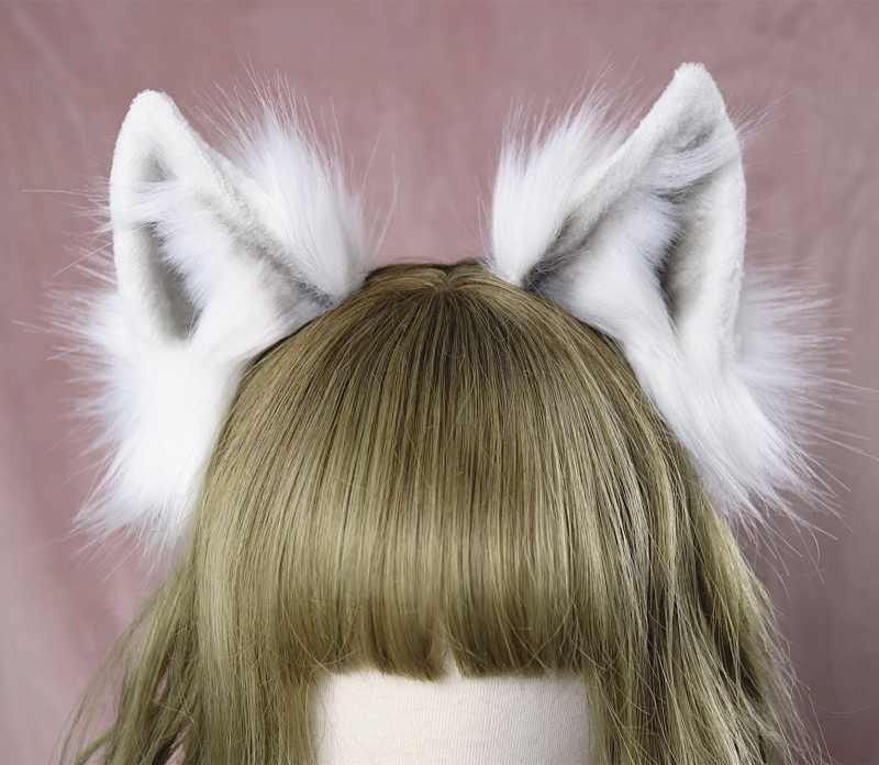 Lolita สาวอุปกรณ์เสริมผมสัตว์หมาป่าสีขาวหู hairband สำหรับผู้หญิง scrunchie Headwear Hand Work