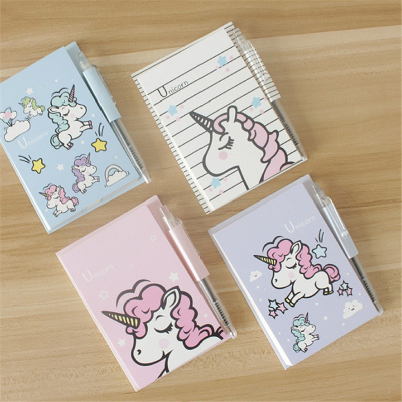 1PC Cute Unicorn Memo Pad Kawaii Cartoon Sticky Notes With Pen For Kids Girls Gift Writing Notepads Office School Supplies
