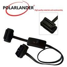 Черный 60 см 16 Pin плоский тонкий OBD2 elm327 мужчин и женщин адаптер расширение с выключателем автомобиля сканер инструмент кабеля автомобиля диагностический