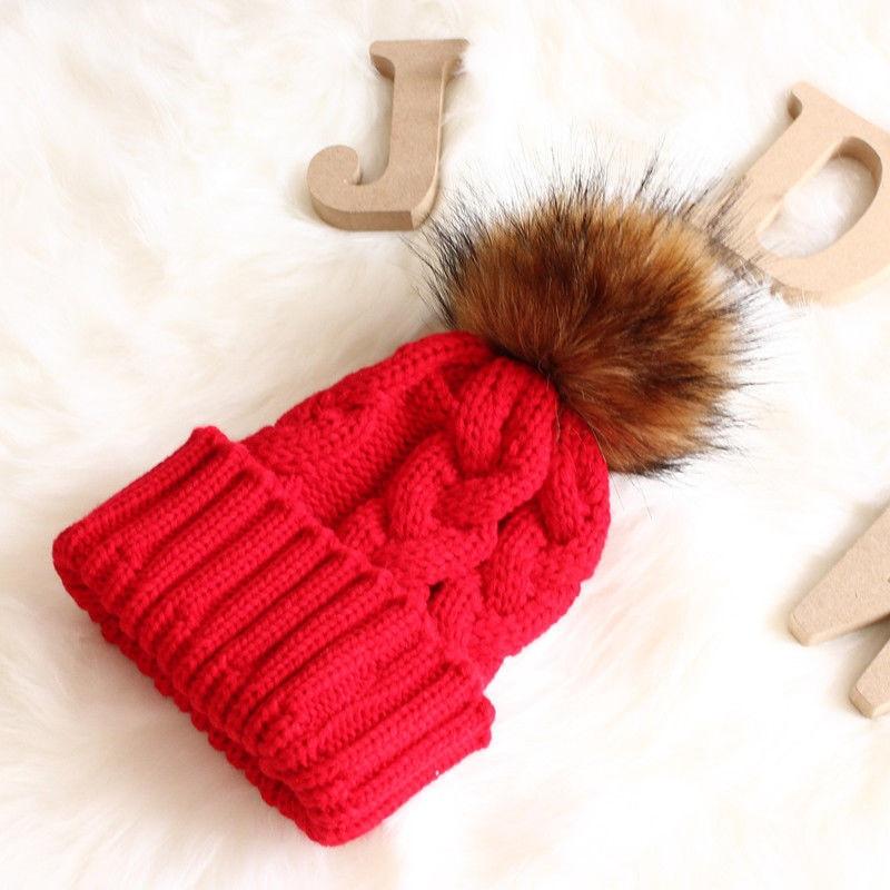 Unisex Fashion Causal Solid Warm Winter Knitting Yarn Knit Beanie Fur Pom Pom Hat Crochet Ski Cap One Size For Children Men's Skullies & Beanies