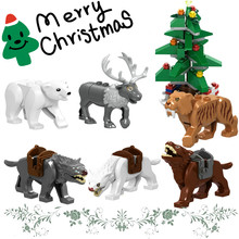 Christmas Tree Decorations For Home LegoINGly Elk Deer Reindeer Lord of the Rings Wolf Horse Wargs Building Blocks Children Toys(China)