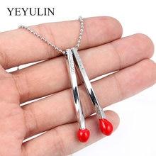 Vermelho combina forma pingente colar banhado a prata cor link corrente colares para amigo família moda jóias presente