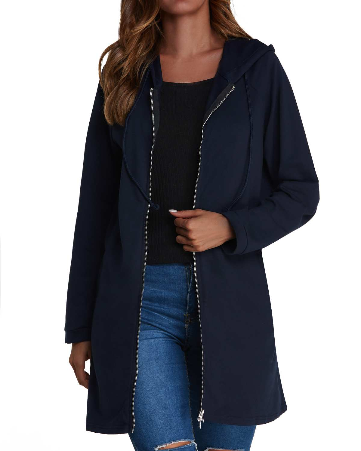2019 ZANZEA Hooded Cardigan Coats Spring Autumn Casual Straight   Trench   Women Pockets Zipper Solid Color Long   Trench   Coats Female
