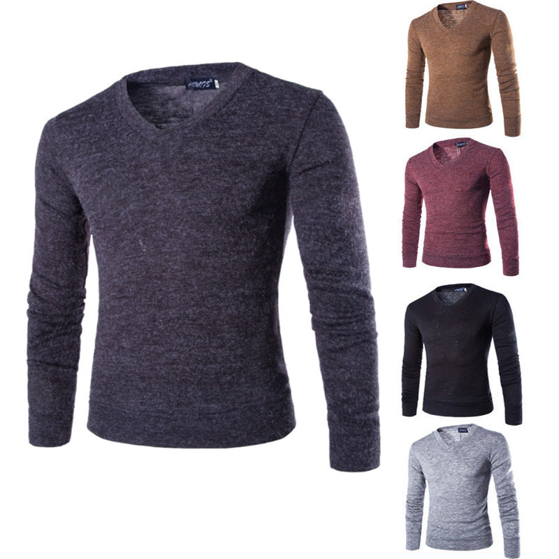 hIRIGIN Fashion Spring Autumn Men's Knit Wear Sweaters Leisure Comfort Slim Pullover Solid Color V Neck Jumpers Sweater