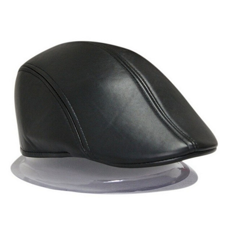 2017 Fashion Women Men Beret Hat Pu Leather Men Newsboy Cabbie Baker Ivy Cap Black Brown 2 Colors