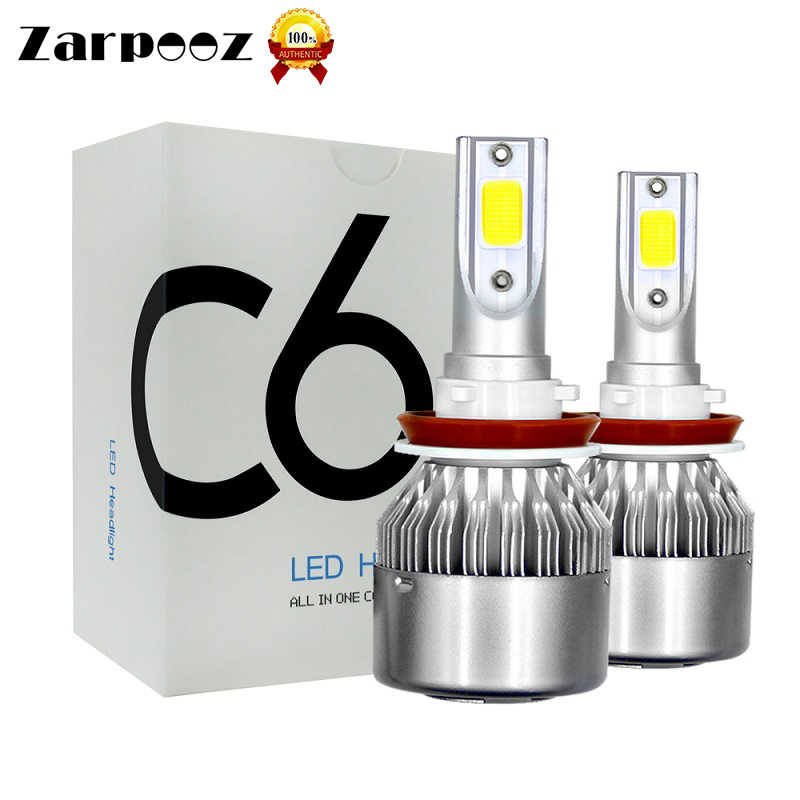 Zarpooz 2x C6 Car Headlight Bulbs 12V H4 Led H7LED 72W H1 H3 H11 H13 9005 9006 9004 9007 Auto Lamps Silver Color