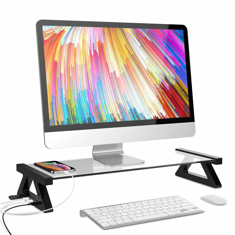 Verre trempé USB ordinateur portable support d'ordinateur portable support de bureau tampons de refroidissement multi-fonction moniteur de bureau support ordinateur écran Riser