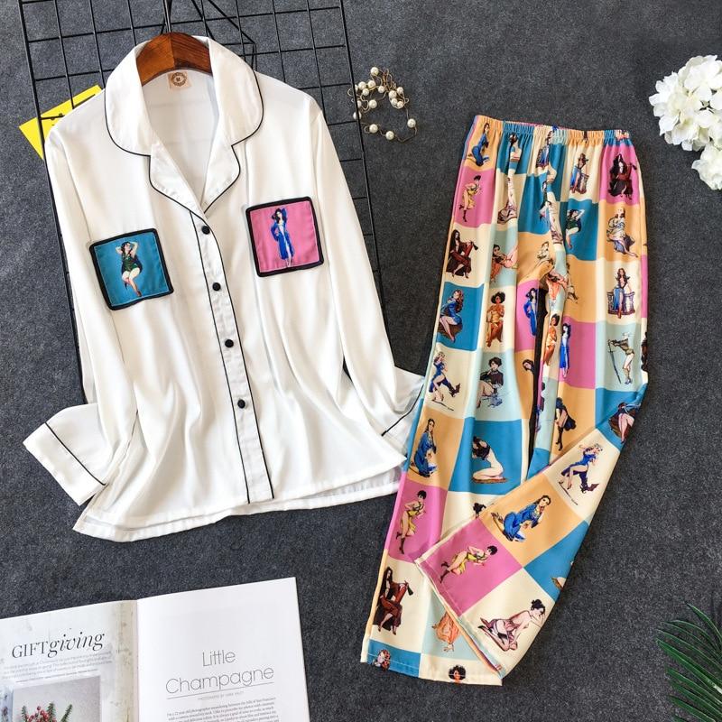 2019 New Printing Pajama Set  Woman Korean Sweet Lovely Rayon Long Sleeve Trousers Twinset Pijama