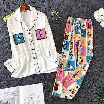 2019 New Printing Pajama Set  Woman Korean Sweet Lovely Rayon Long Sleeve Trousers Twinset Pijama - discount item  40% OFF Women's Sleep & Lounge