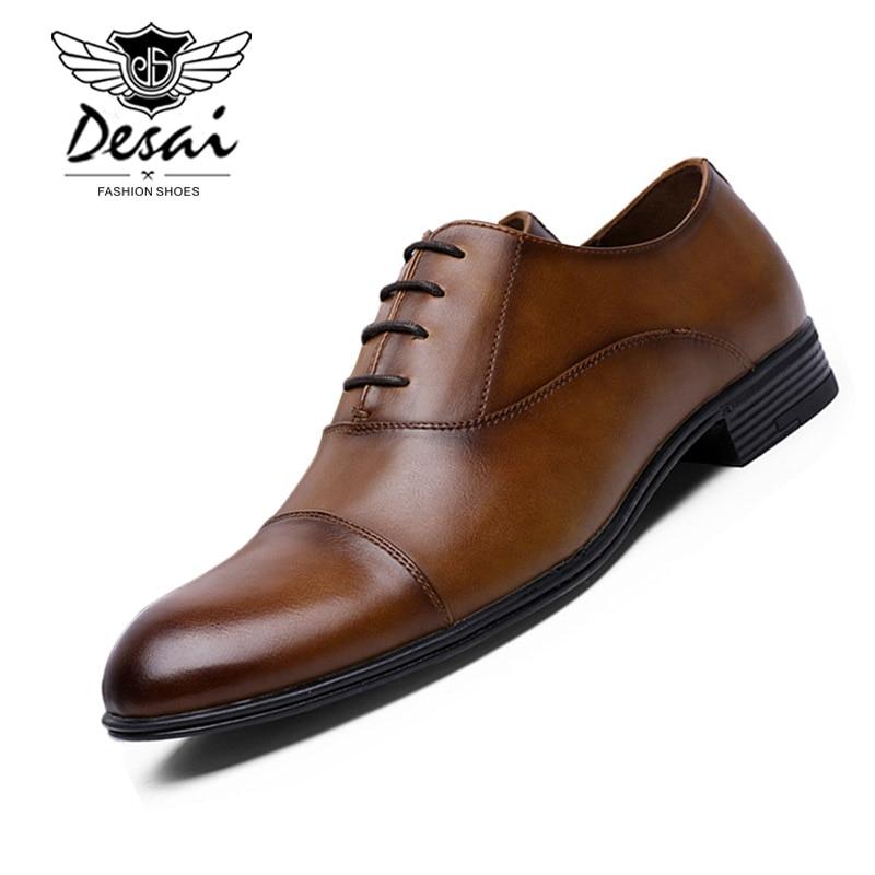 DESAI 2019 New Men's Business Dress Shoes Man Fashion Elegant Formal Flats Gentleman Shoes Comfortable Office Shoe Size 39-45