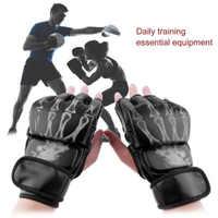 Guantes de boxeo MMA, bolsa de boxeo, guantes de medio dedo, guantes de entrenamiento de Kickboxing, guantes de combate UFC