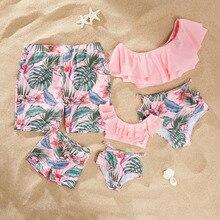 Men Kids Boy Dad Son Beach Shorts Mommy And Me Clothes Women Girl Bikinis Family