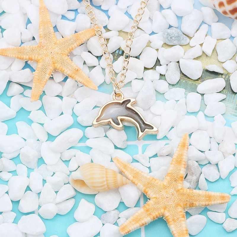 อินเทรนด์อินเทรนด์สร้อยคอทองเคลือบฟันสี Dolphin จี้ประณีตเด็กจี้สร้อยคอของขวัญเครื่องประดับ
