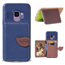Original Leather Wallet Flip Cover Case For Samsung Galaxy S10 S9 S8 Plus Plain Phone Back Note 8 9