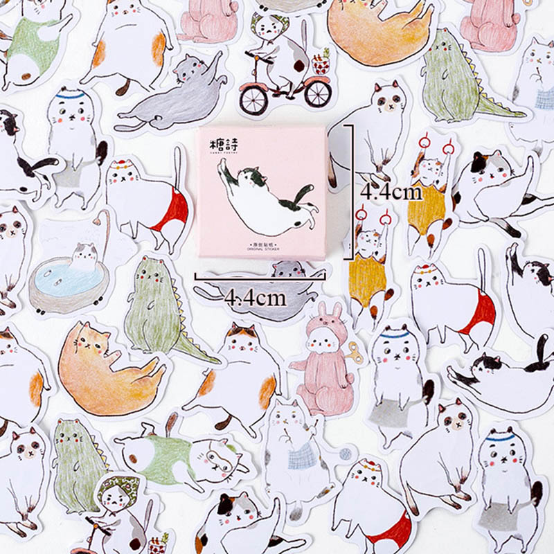 45pcs/box Chubby Cats Stickers Cute Animals Decorative Adhesive Stationery Stickers Decorations Scrapbooking Material Escolar  45pcs/box Chubby Cats Stickers Cute Animals Decorative Adhesive Stationery Stickers Decorations Scrapbooking Material Escolar
