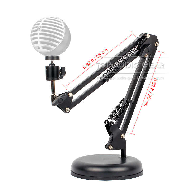 Support de pied de micro de bras de ciseaux de Boom de Suspension de table pour SHURE MV5 MV 5 support de support de Microphone d'usb support de socle rond