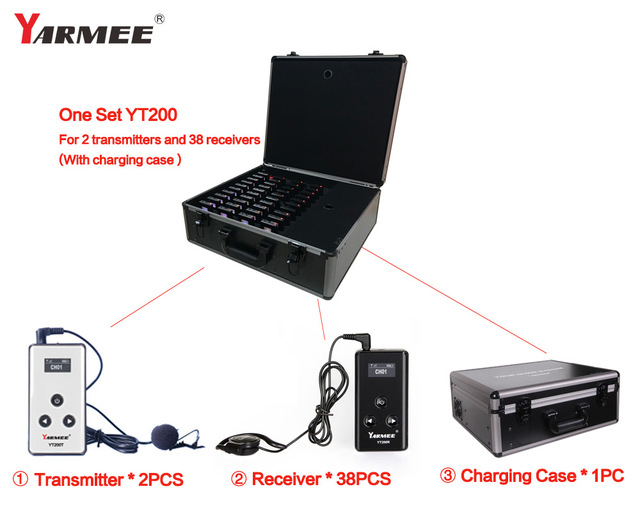YARMEE YT200 museum audio wireless tour guide system, whisper guide system 2T+38R