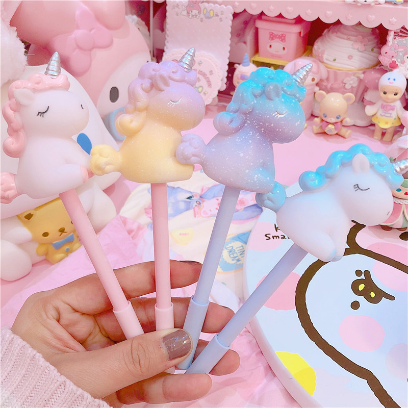 Cute Sweet  Unicorn Gel Pens Kawaii Multi Shape Silica Gel &Plastic Unicorn Pens For Kids Girls Gifts School Supplies Stationery
