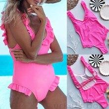 2fcdea1e1e15f Недавно для женщин одна деталь сплошной цвет спинки рюшами купальник  лепесток Push-Up ярко розовый бикини купальник с вырезом сз.