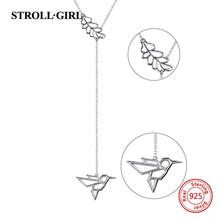 StrollGirl New arrival 925 sterling silver the bird and flower pendant necklaces fashion jewelry free shipping