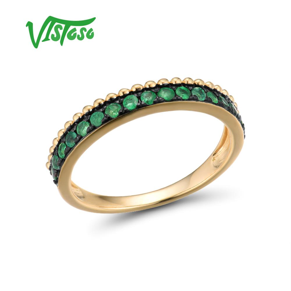 VISTOSO Gold Rings For Women Genuine 14K 585 Yellow Gold Ring Sparkling Luminous Emerald Luxury Engagement