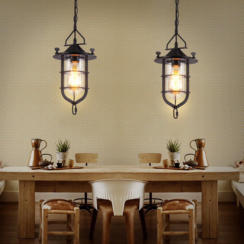 Vintage Industrial Loft Pendant Light E27 E26 Edison Bulbs Lampshade Metal Iron Retro Pendant Lamp Home Restaurant Bar Lights