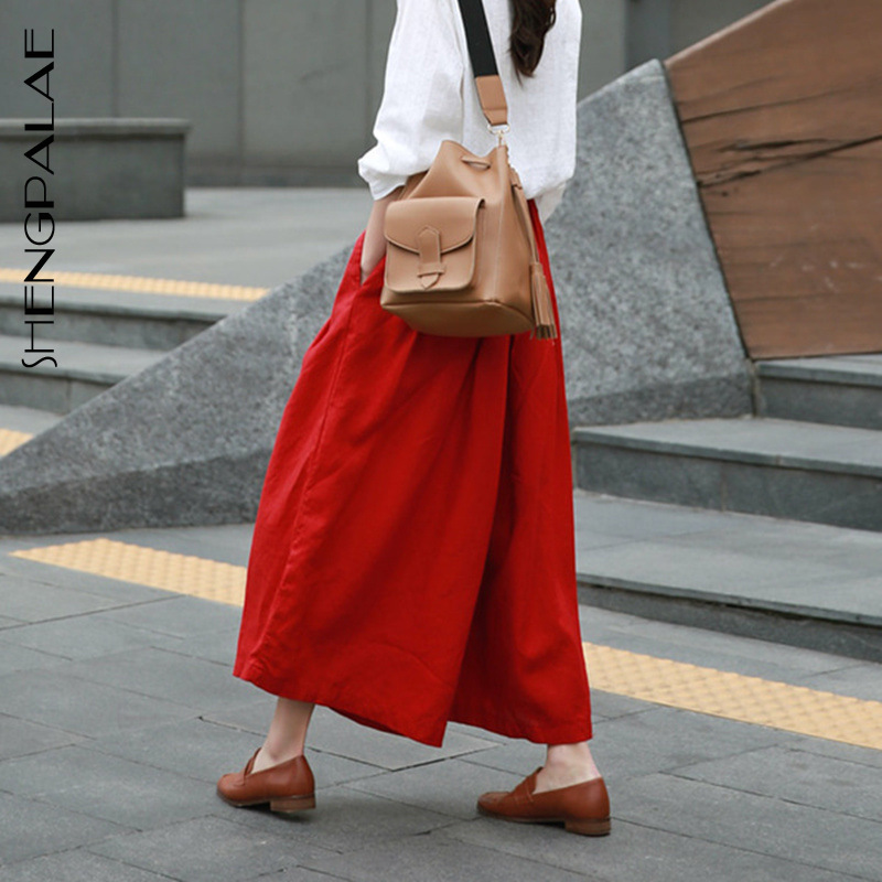 SHENGPALAE New Arrivals Solid Red Color Bottoms High Waist Linen Korean Fashion Loose 2019 Summer Woemn   Wide     Leg     Pants   FL964
