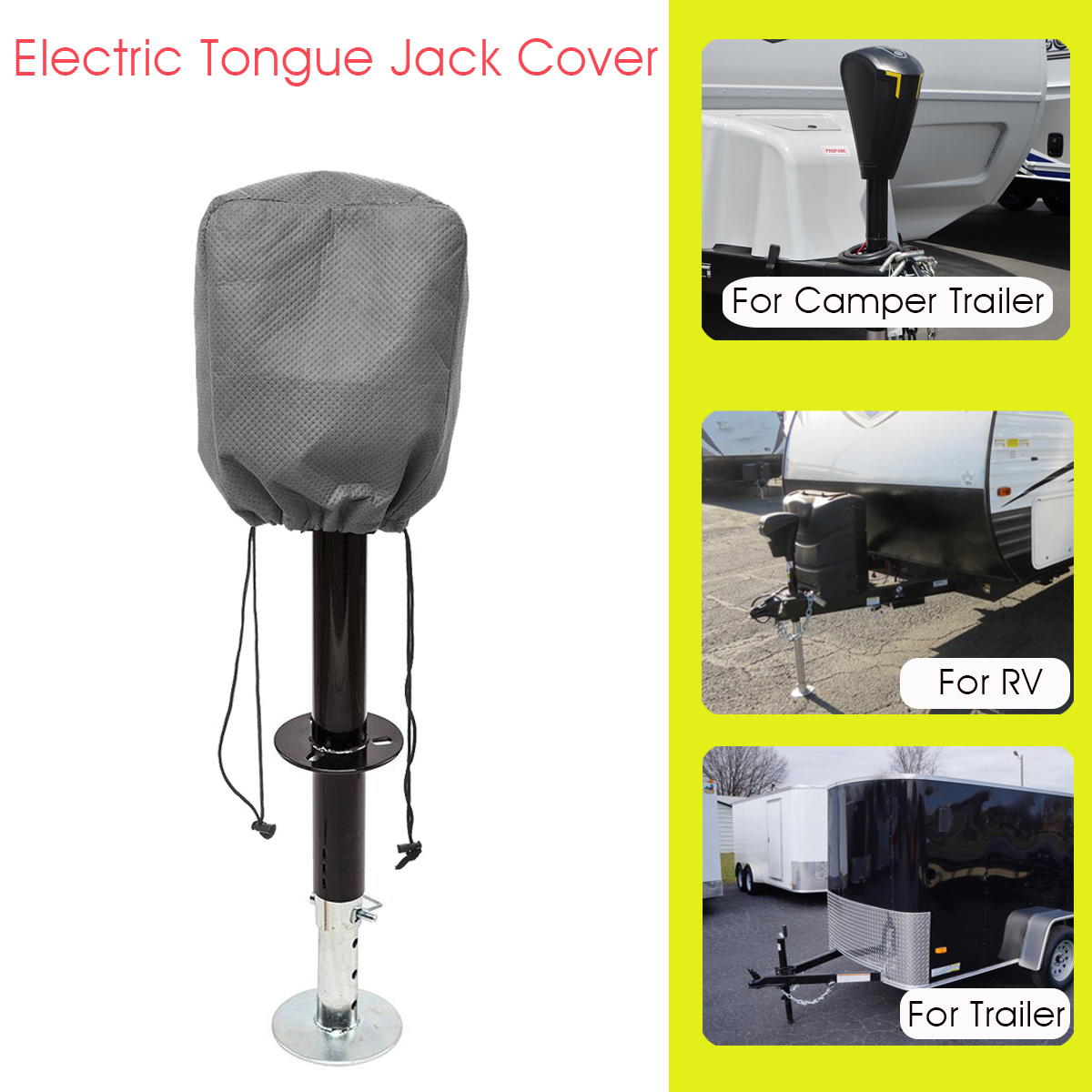Universal RV Electric Tongue Jack Cover Protector Grey For Travel Motorhome Trailer For Camper Waterproof
