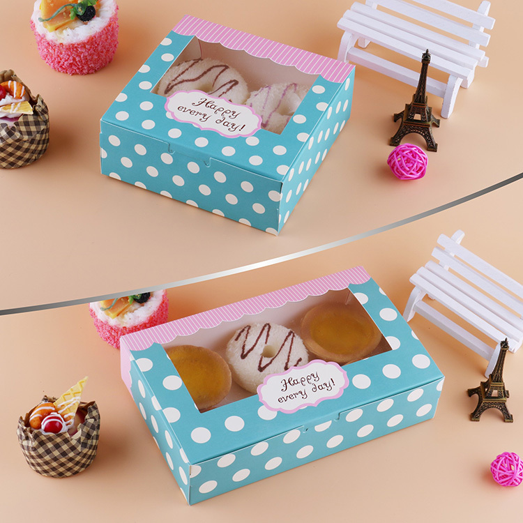 12 Pcs Gift Box Packaging Wedding Favor Paper Cake Box Cookie Candy Handmade Cupcake Birthday Party Present Box With Window Dots