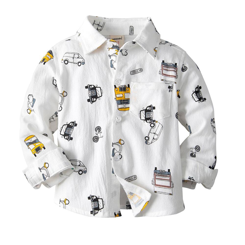 VTOM Baby Boys Shirts Kids Clothes Children Turn Down Collar Long sleeved Top Baby Boys Cartoon Shirts Kids Clothing XN62 in Shirts from Mother Kids