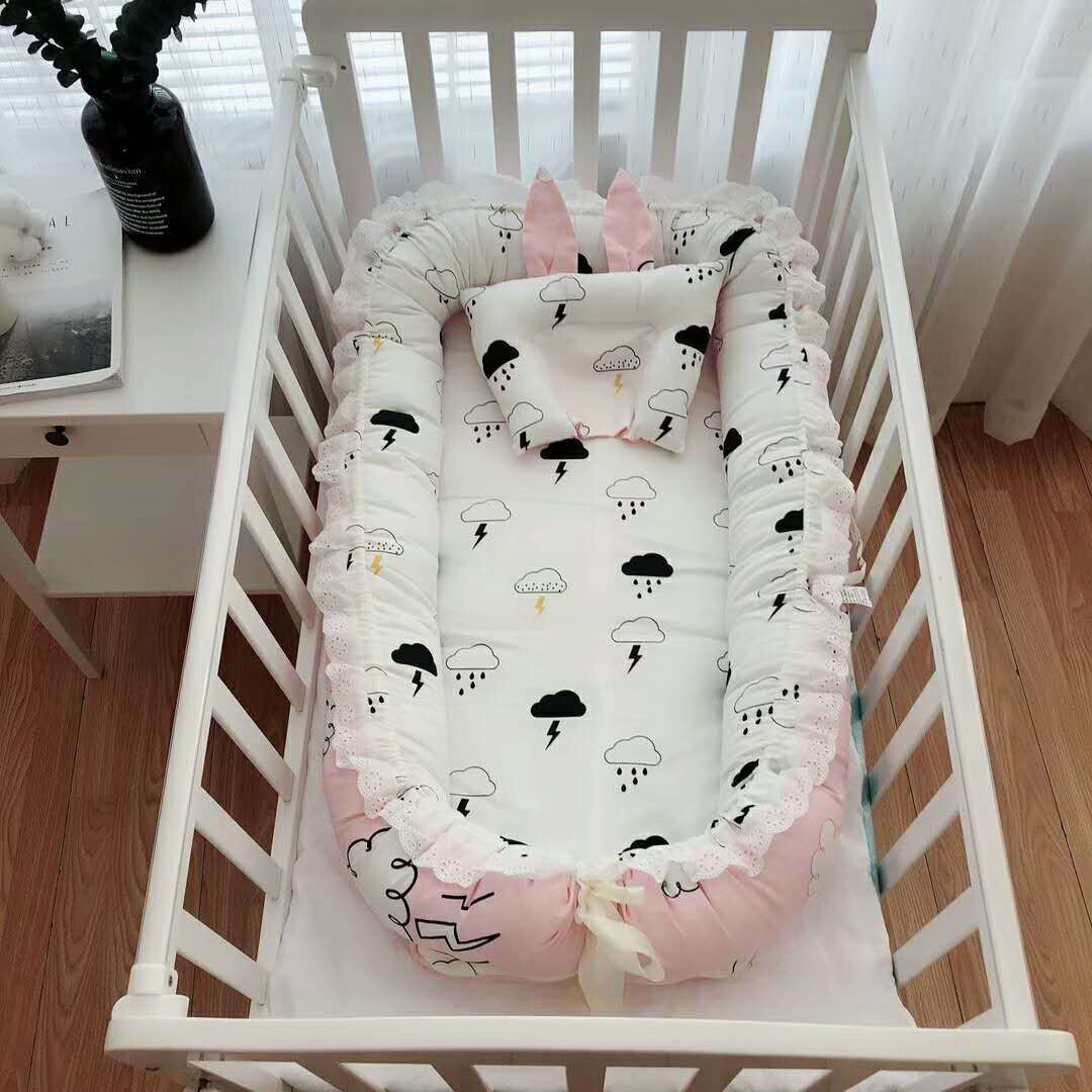 90cm*55cm*15cm Baby Bed Soft Cotton Material Baby Nursery Nest Newborn Cradle With Pillow Outdoor Travel Bed For 0-24 Month Baby