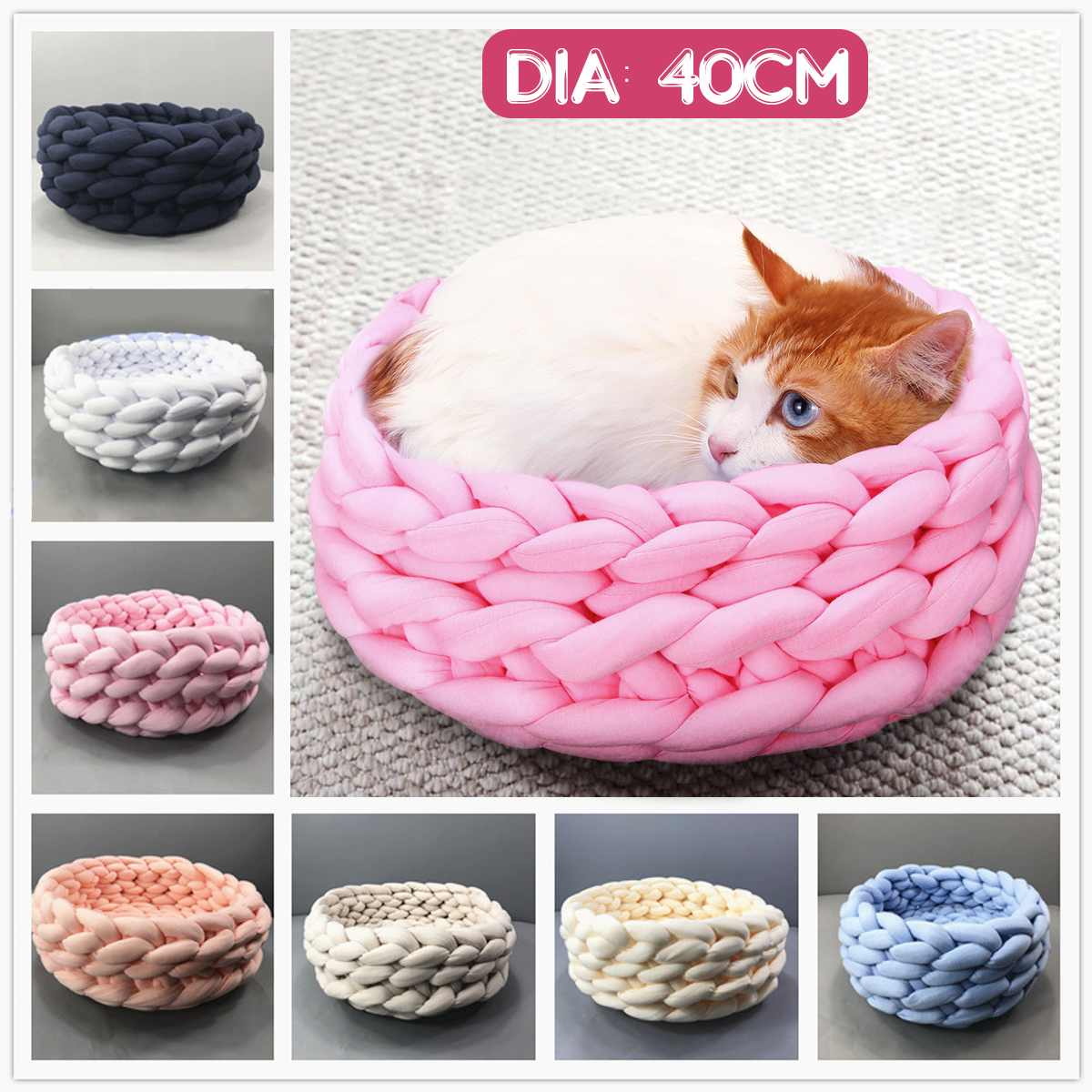 1 Pcs Soft Pet Hond Bed Ronde Kennels Handgemaakte Breien Grof Wol Huisdier Huis Warm Pluche Cozy Pet Hond Kat Nest Mat 40 Cm 50% Korting