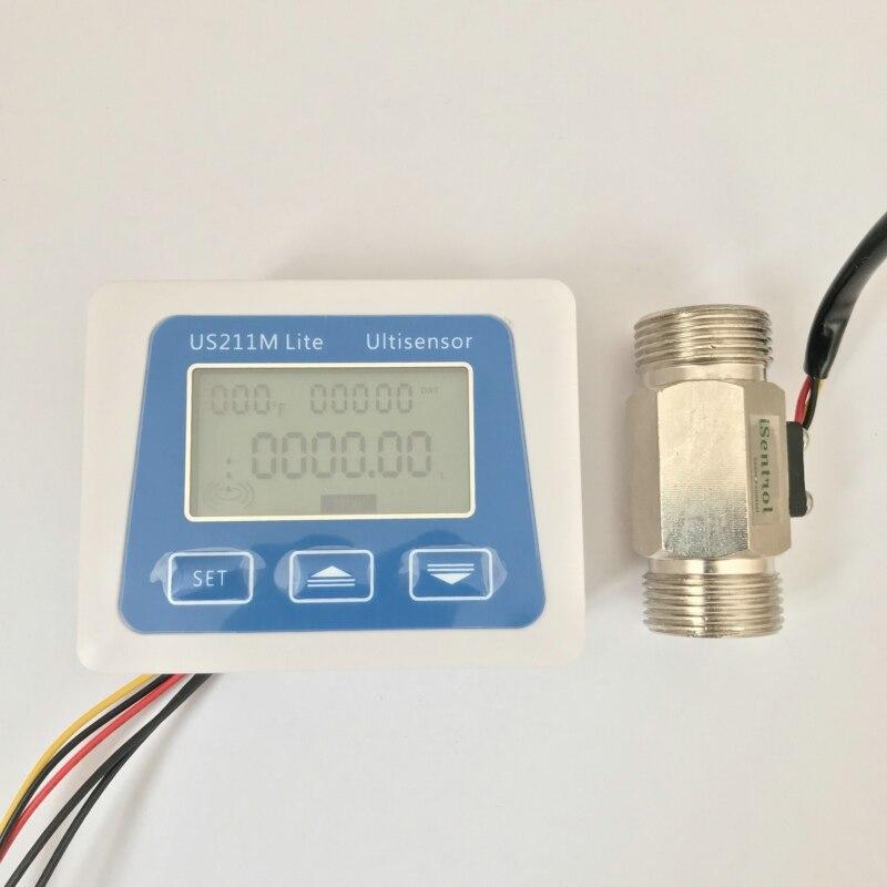 US211M Lite USC HS43TB 2 45L min Digital Flow Meter 5V Flow Reader Compatible with all