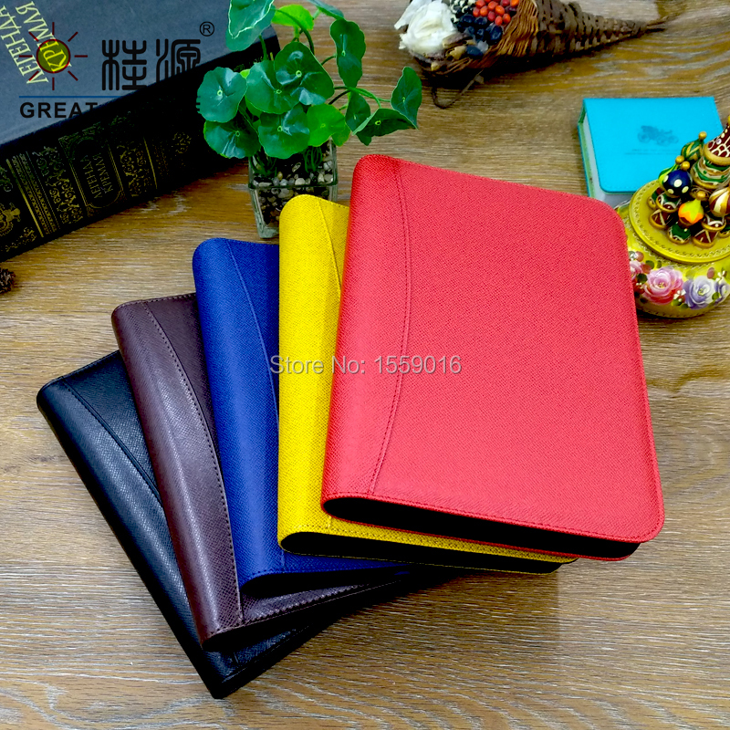 Binder Folder Padfolio Leather File Folder Multifunction For A5 Binder Notepad Fabric  Veins Cover