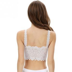 Image 5 - New Sexy Women Lingerie Vest Lace Floral Bralette Bra Bustier Tank Tops Padded Crop Top Female Ladies Underwear Black White~