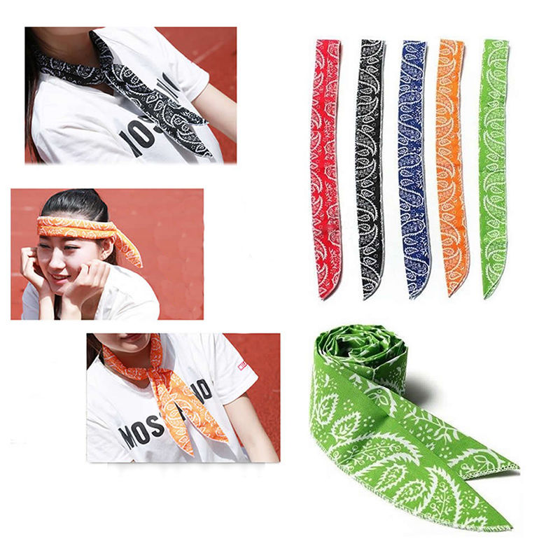 Summer Neck Cooler Scarf Body Ice Cool Cooling Wrap Necktie Sport Headband Newly