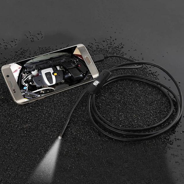 Wsdcam-caméra endoscopique 7MM 2 en 1   Mini caméscope USB, étanche, 6 caméras dinspection endoscopique, pour Android Loptop