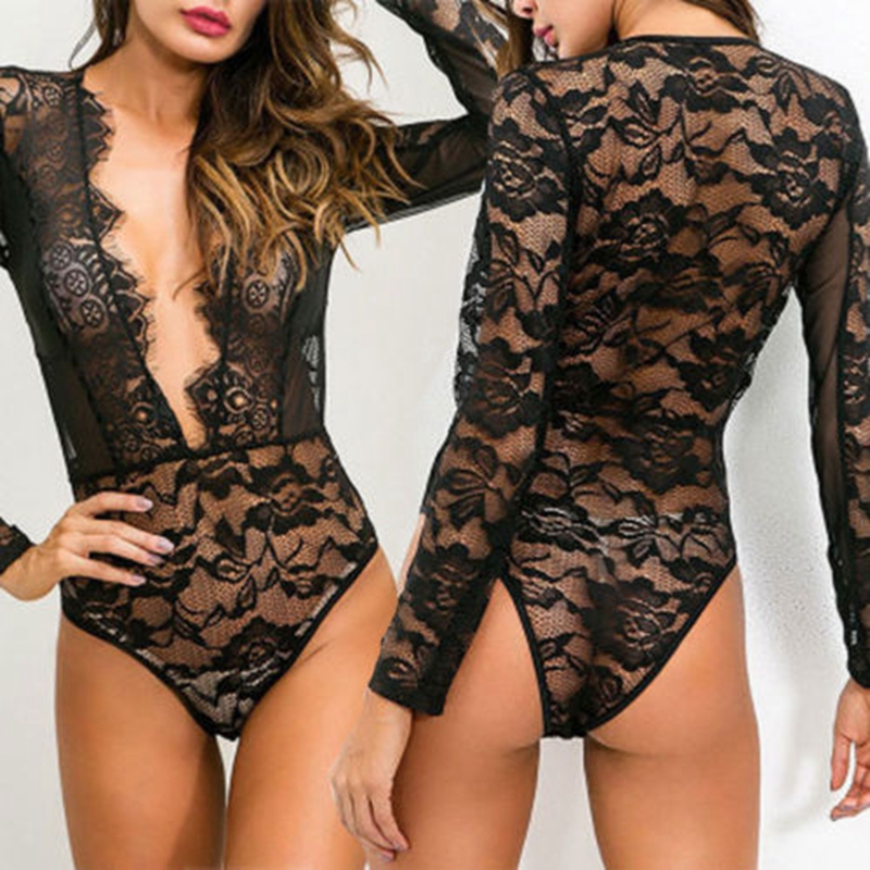 Sexy Women Black Lace Bodysuit Sleepwear Body Stocking Lingerie Babydoll Nightwear Sleepwear