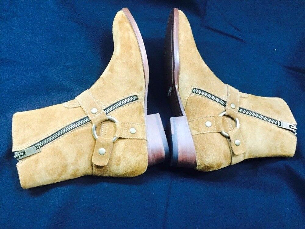 Cuero Cremallera 4 2 Moda El Wyatt Zapatos Occidental Arranque De Los Botas La 6 En 1 Gamuza 5 Tobillo Hombres Motocicleta 3 Caliente 2018 qwt18